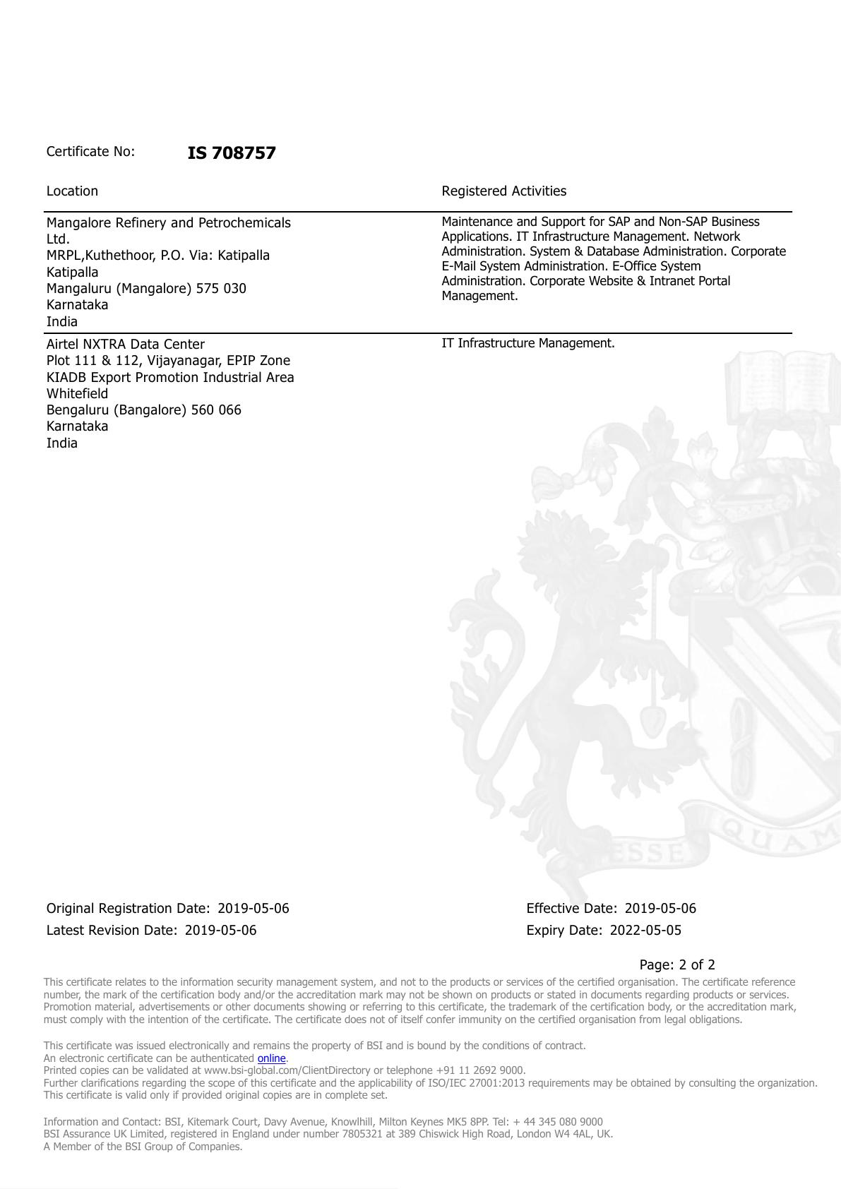 MRPL an ISO 27001:2013 Certified company