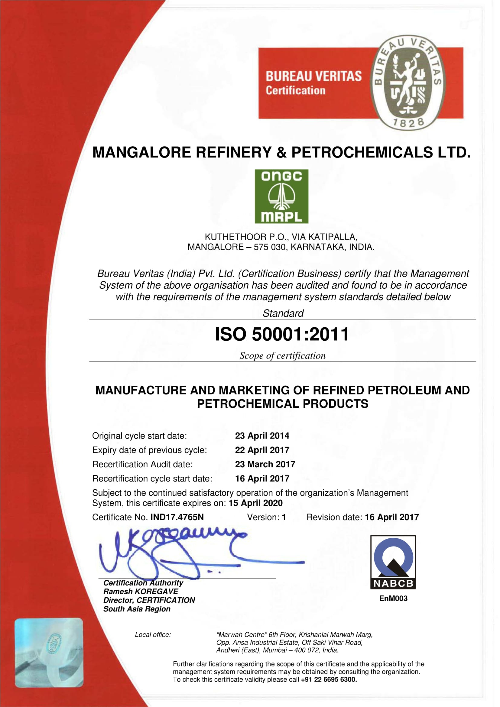 Iso 50001 Mangalore Refinery And Petrochemicals Limited